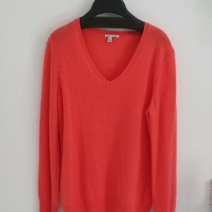 Halogen orange v neck cashmere sweater med